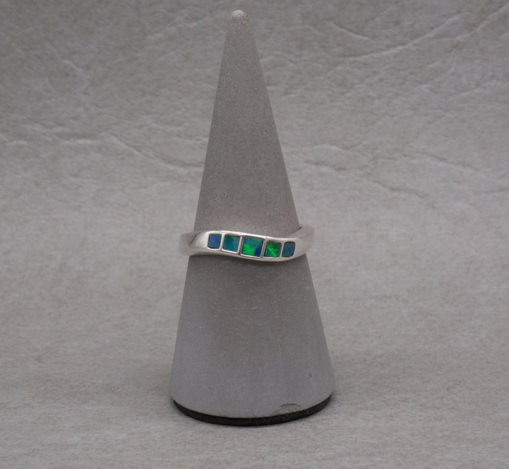 Sterling silver wave ring with opal inlay