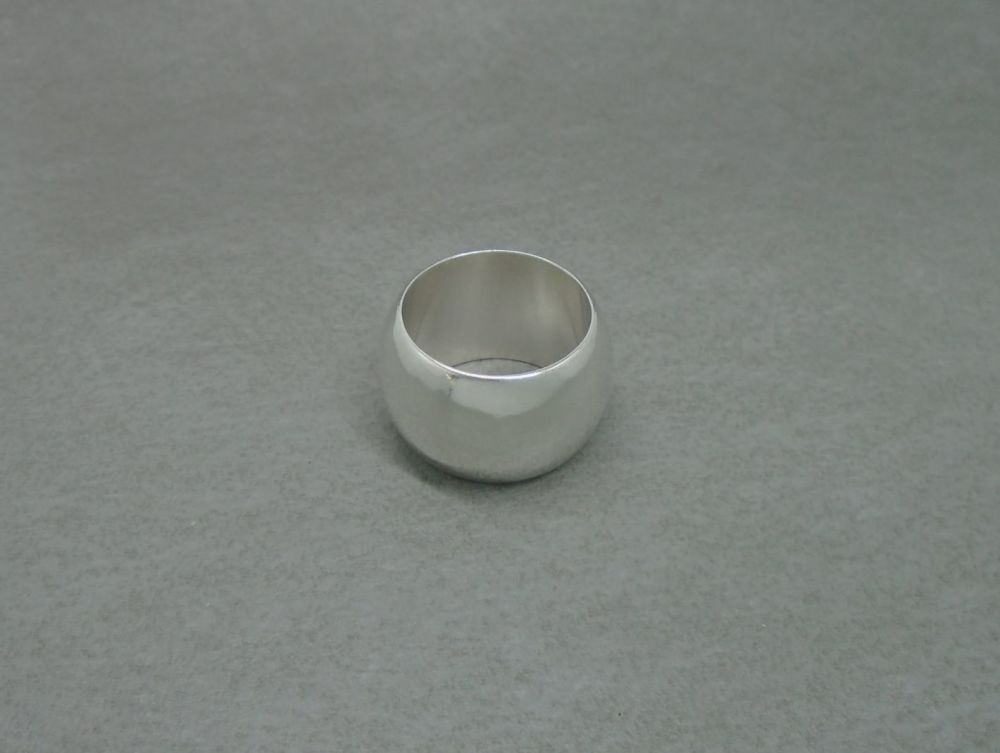 Sterling silver 'D' profile wedding band ring