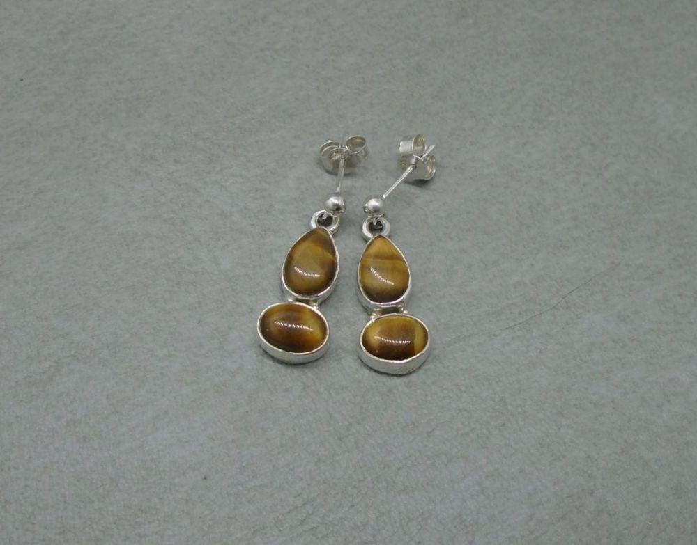 Sterling silver & Tiger's eye drop earrings