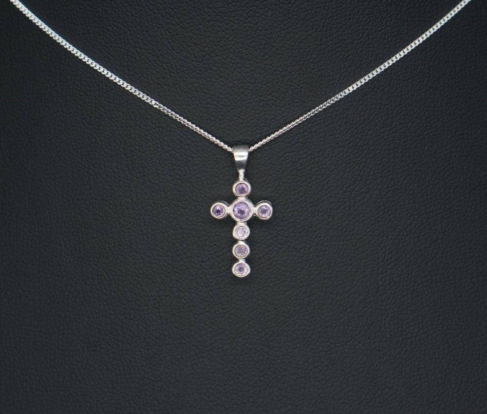 Sterling silver & amethyst cross necklace