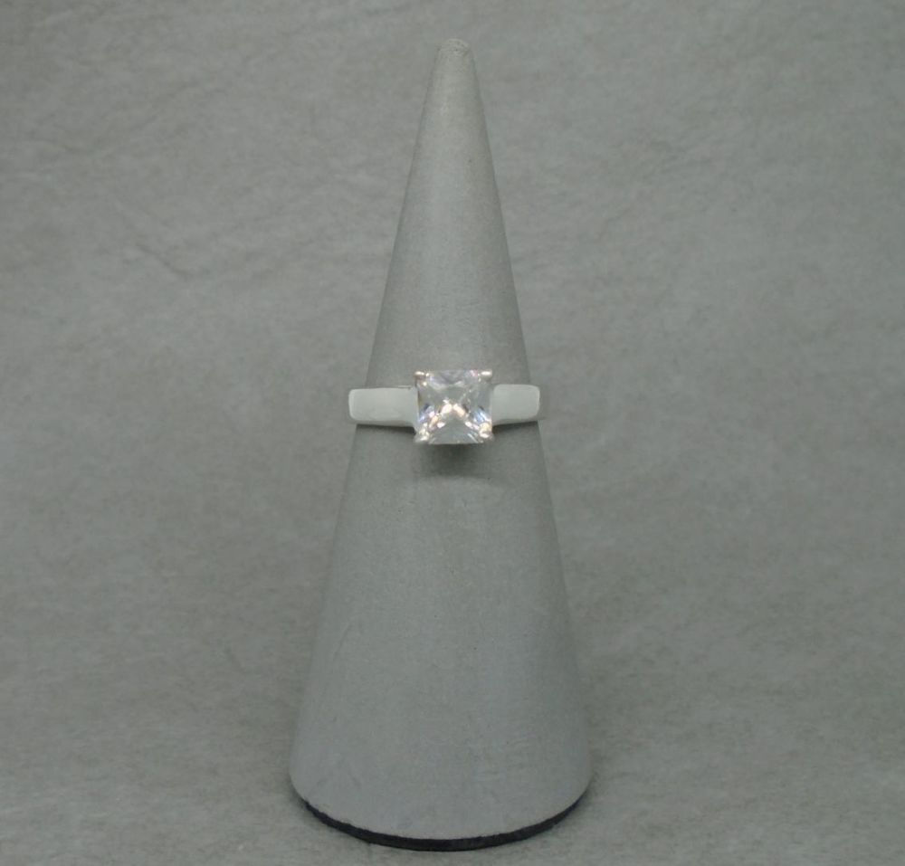 Square sterling silver solitaire ring