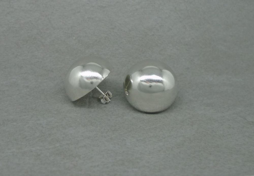 Domed sterling silver stud earrings