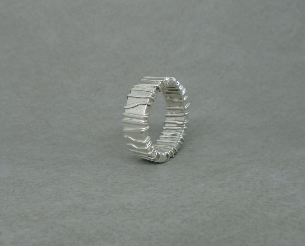 Handmade sterling silver wire wrap effect band ring