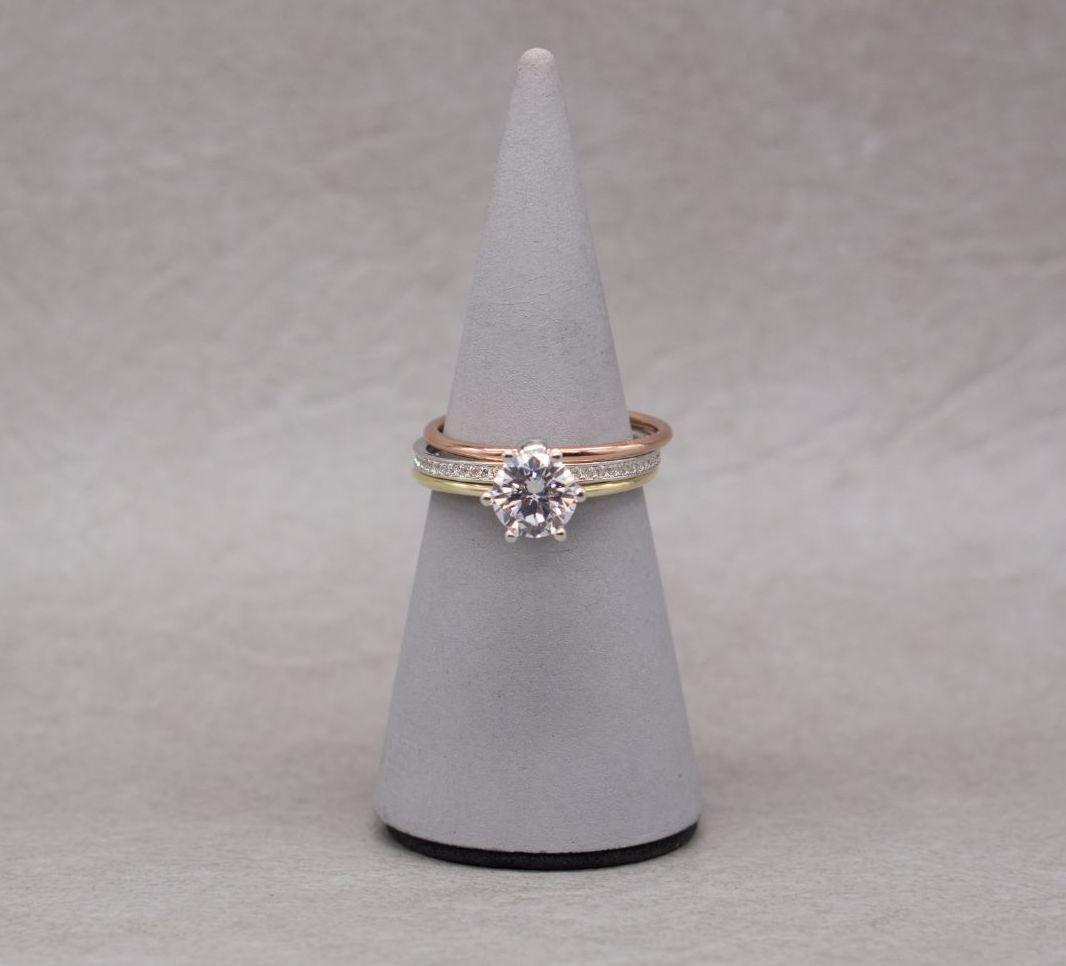 Unusual tri-colour sterling silver combination ring