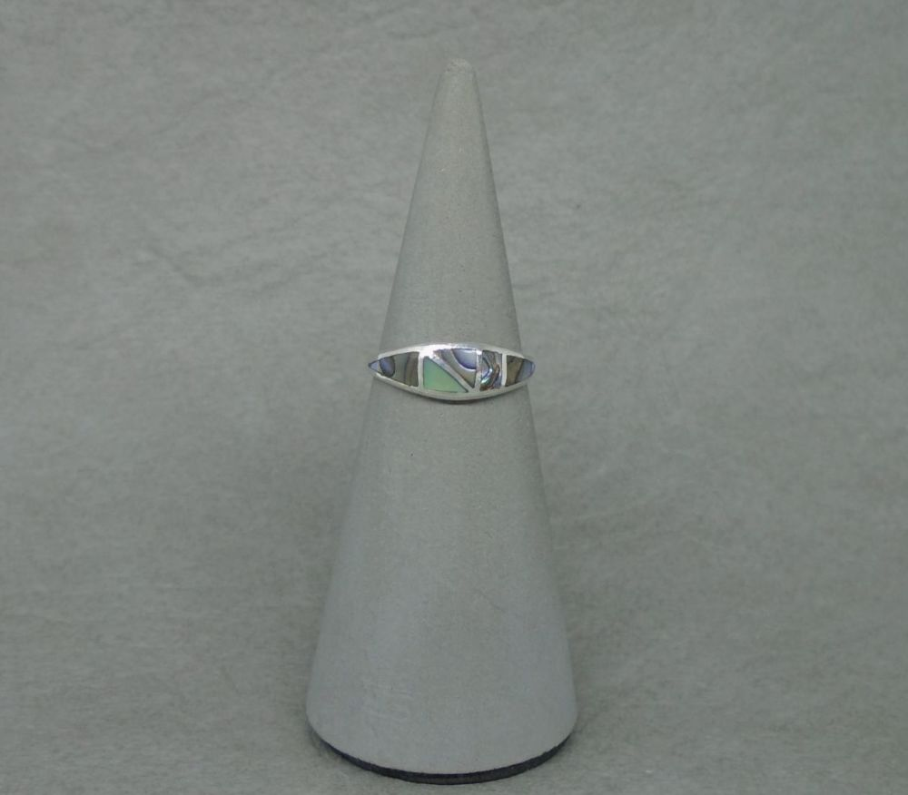 Slim graduated sterling silver ring with abalone inlay