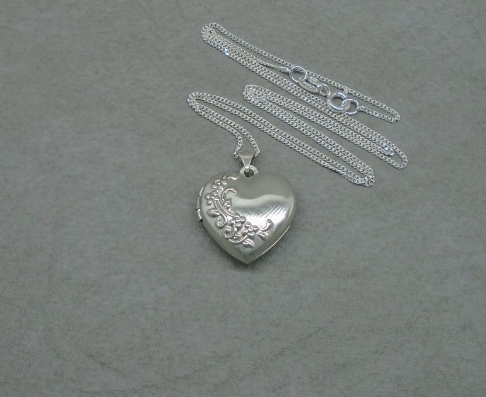 Floral embossed sterling silver heart locket & chain / necklace