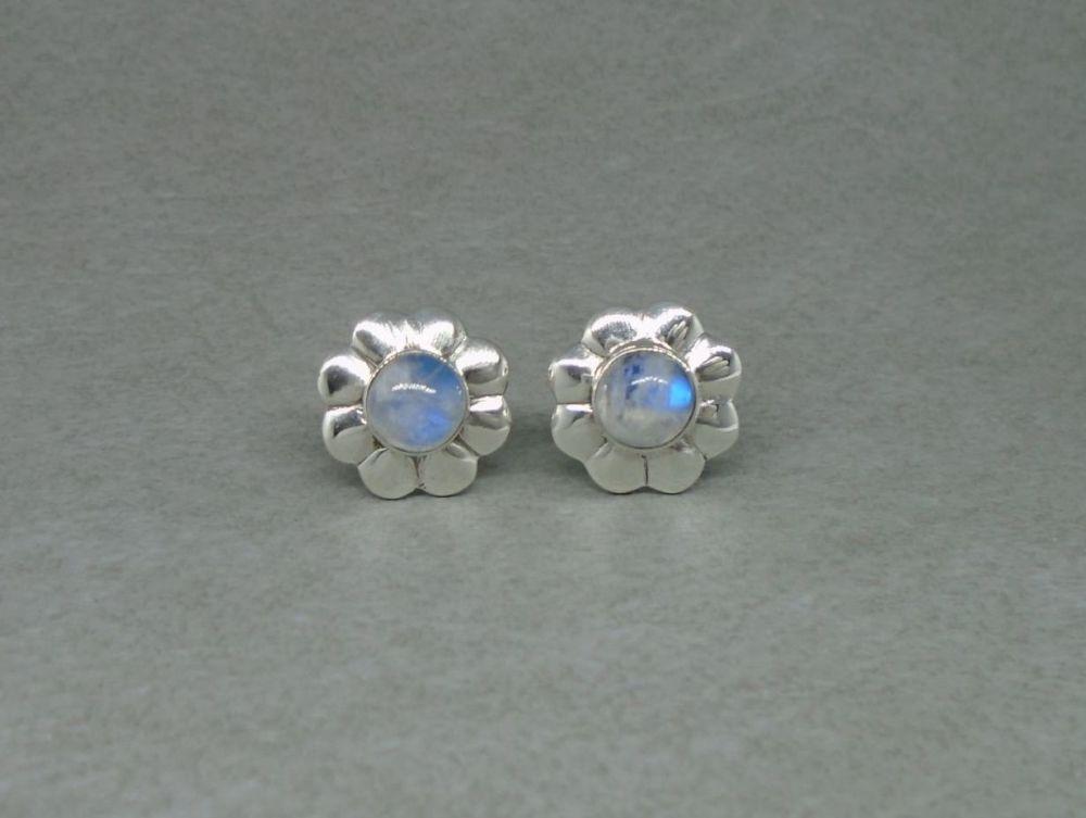 Floral sterling silver & moonstone stud earrings