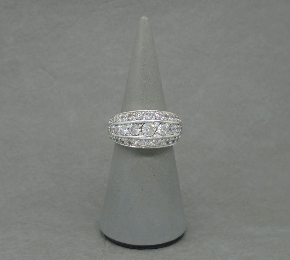Substantial sterling silver graduated cocktail ring