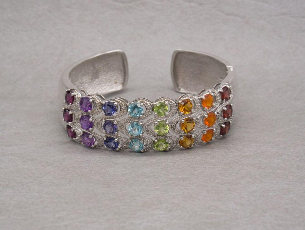 Stunning sterling silver & multi-gem cuff bracelet