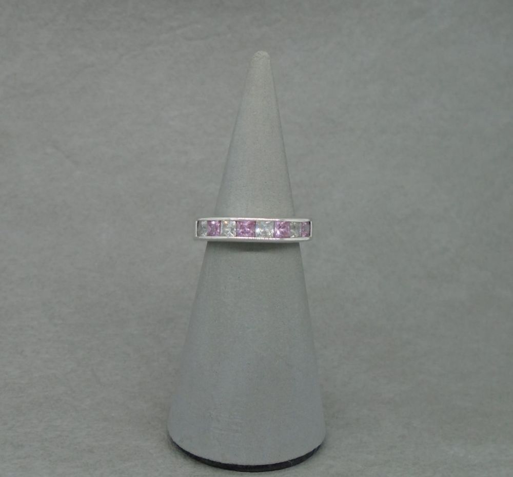 Sterling silver ring with square pink & clear stones