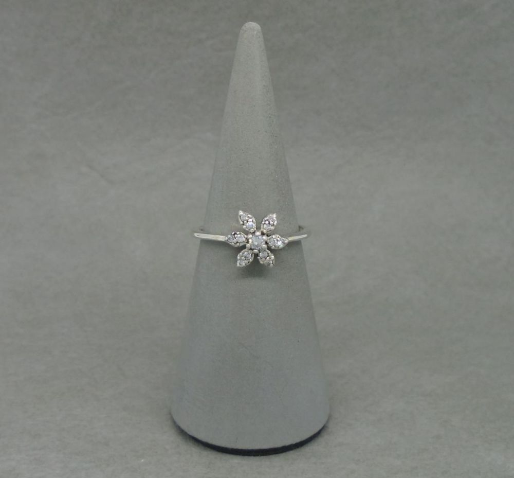 Dainty floral sterling silver ring with tiny clear stones
