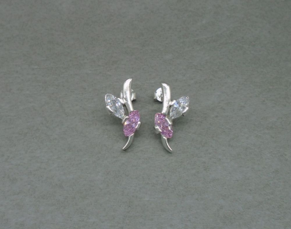Sterling silver earrings with pink & clear stones