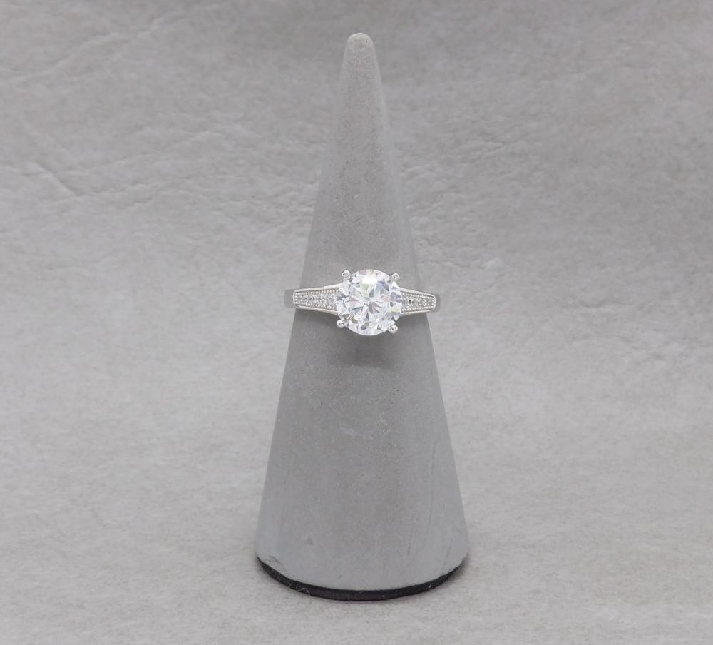 Classic sterling silver accented solitaire ring