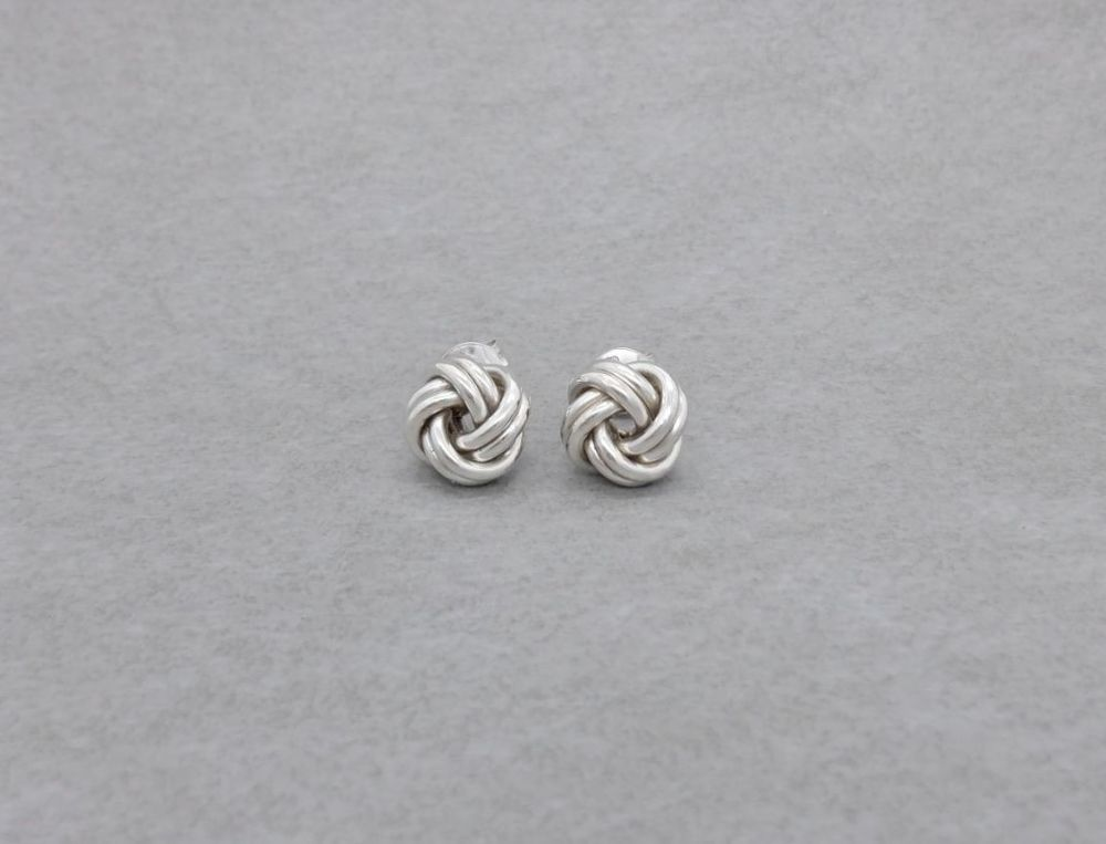 Sterling silver knotted stud earrings