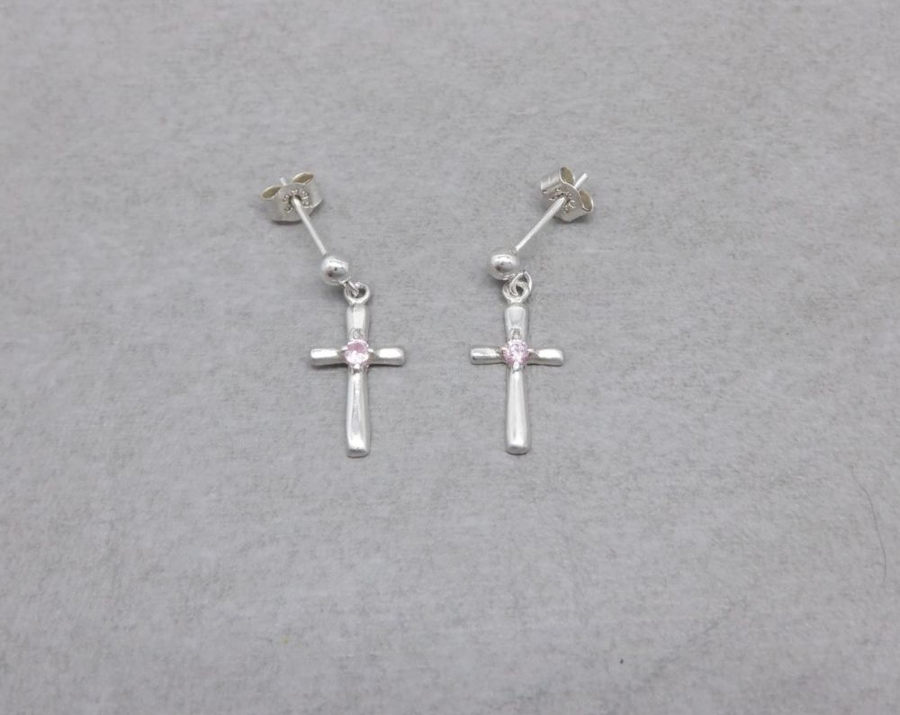 Small sterling silver cross earrings with pink stones