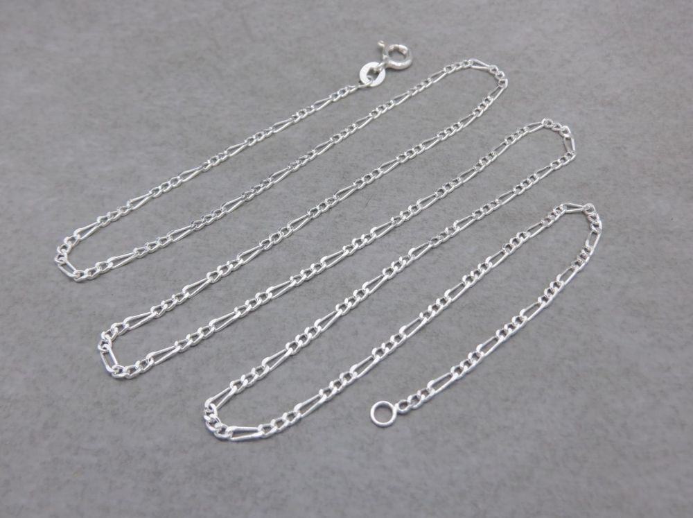 "Sterling silver Figaro chain necklace (20"", 1.8mm)"