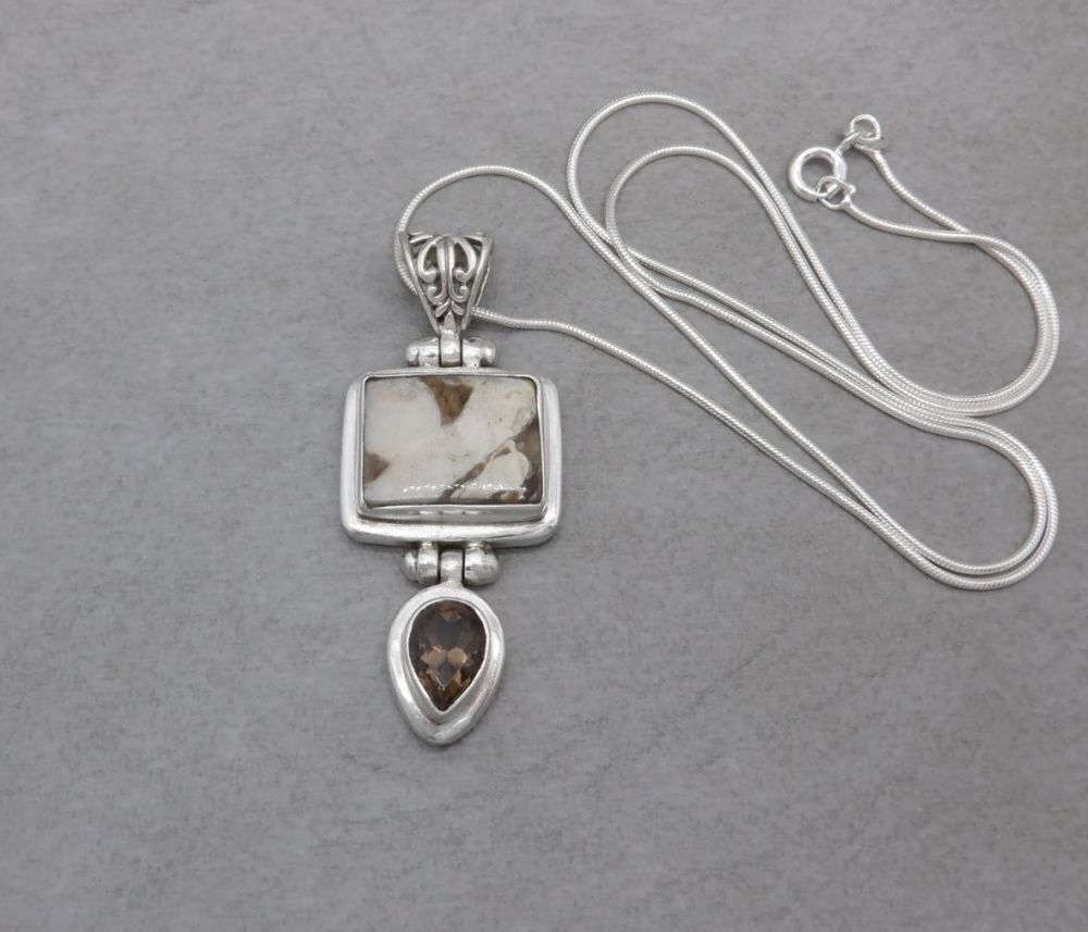 Sterling silver necklace with brown & cream stones