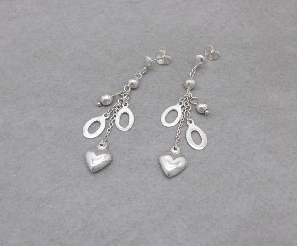 Sterling silver puffy heart, ovals & bead drop earrings