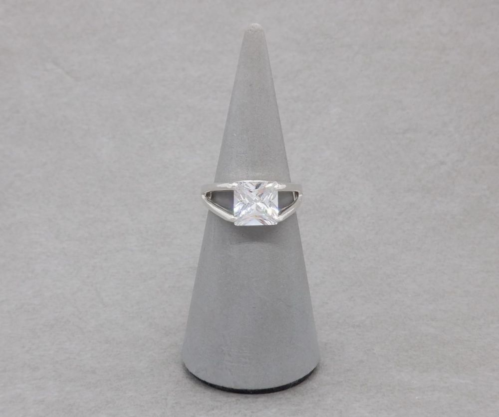 Square sterling silver solitaire ring with split shoulders