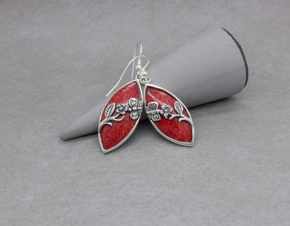 Sterling silver & coral earrings with flower & butterfly detail