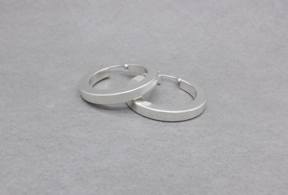 Chunky sterling silver square profile hoop earrings