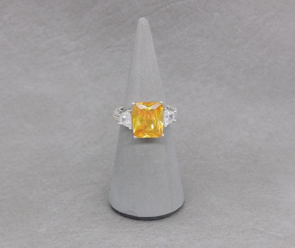 Chunky sterling silver cocktail ring with yellow & clear stones