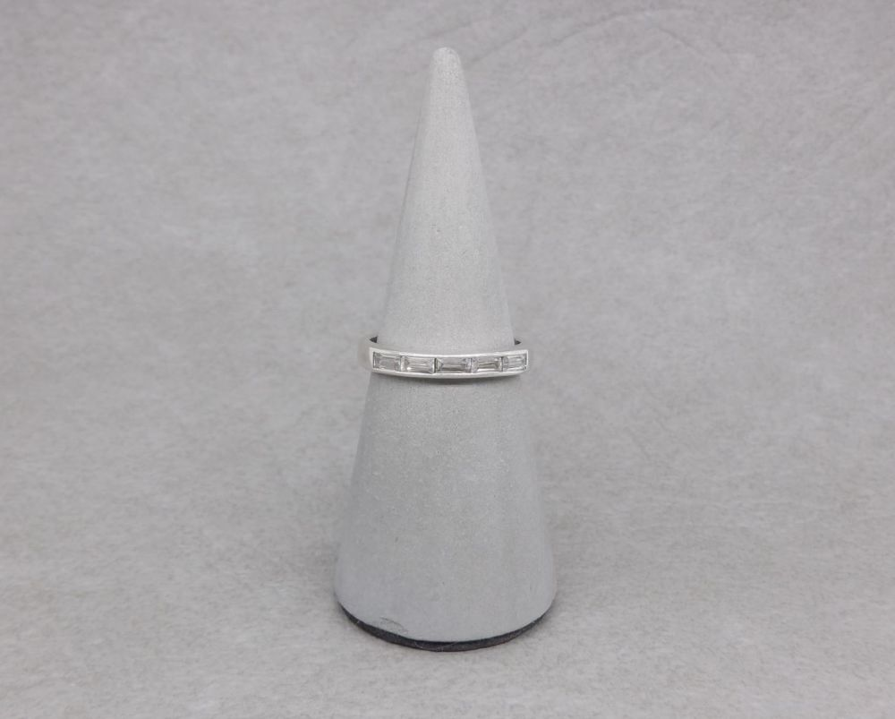 Slim sterling silver ring with clear baguette stones