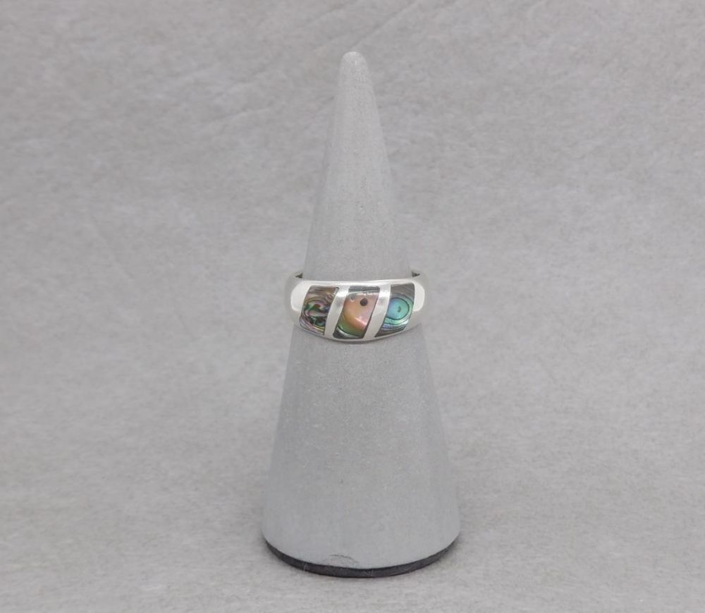 Domed sterling silver & abalone ring