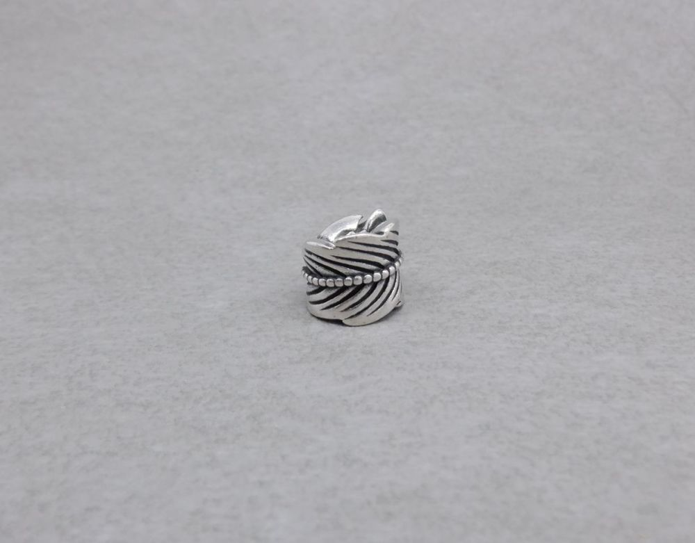 Sterling silver Pandora charm; Curled leaf 790581 (retired)