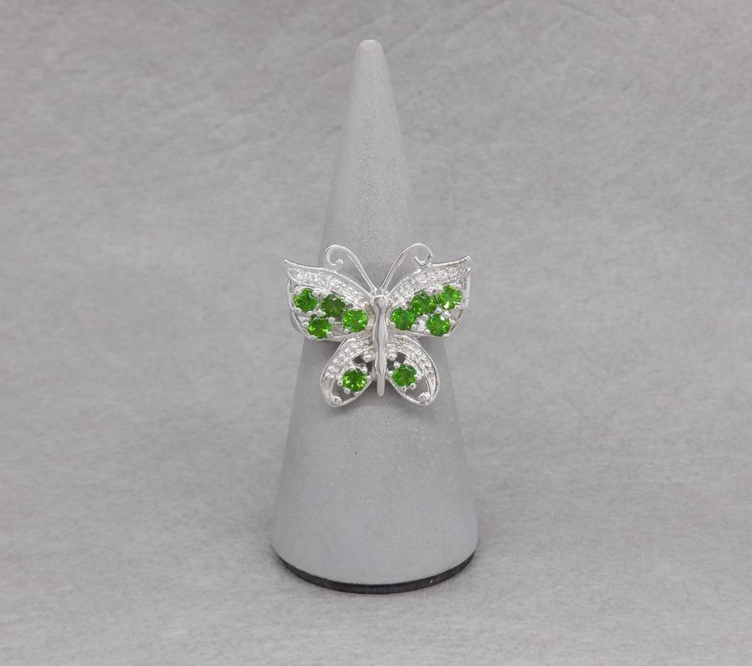 Sterling silver & green diopside butterfly ring