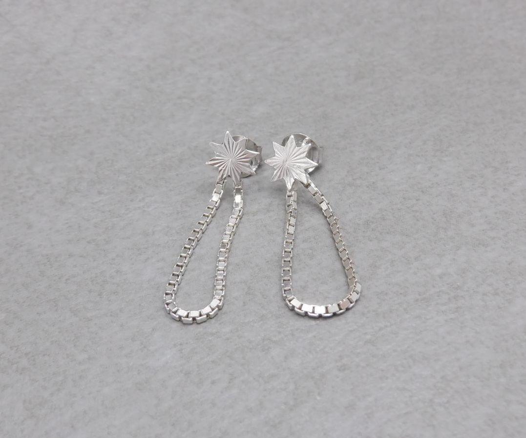 Sterling silver star & box chain earrings