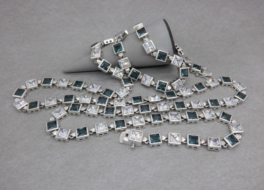 "32"" long sterling silver & square stone necklace"