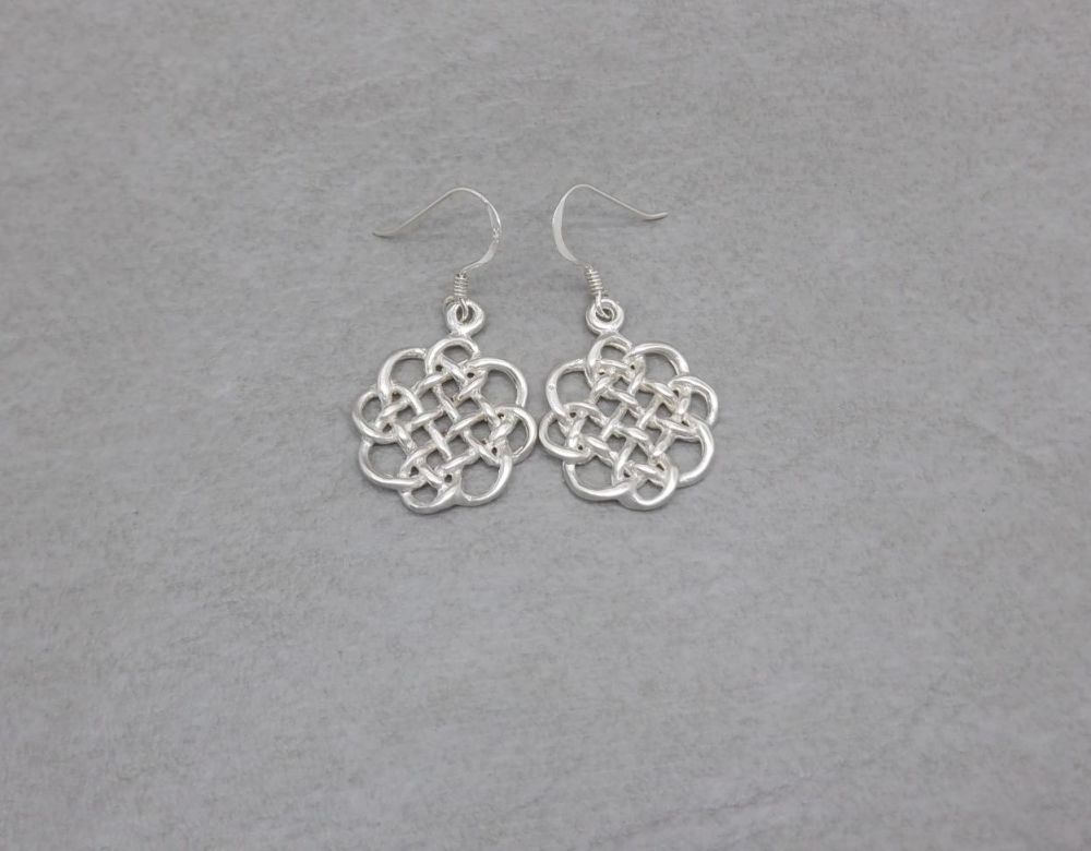 Sterling silver woven celtic disc earrings