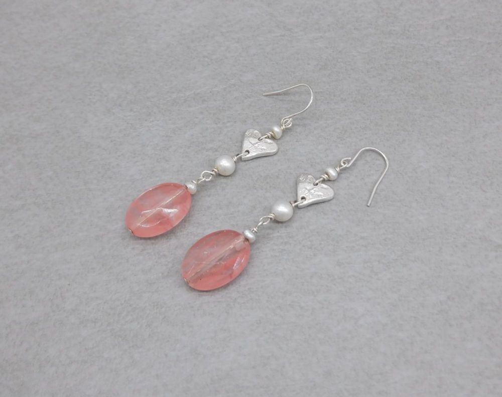 Handmade sterling silver heart, pearl & faceted pink bead drop earrings