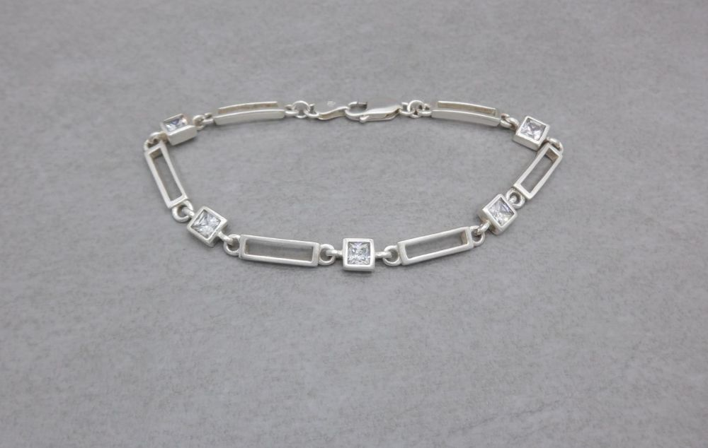 Sterling silver open rectangles & clear square stone bracelet