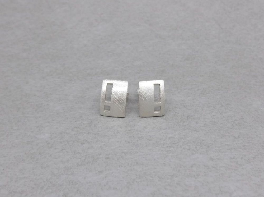 Textured sterling silver rectangular stud earrings