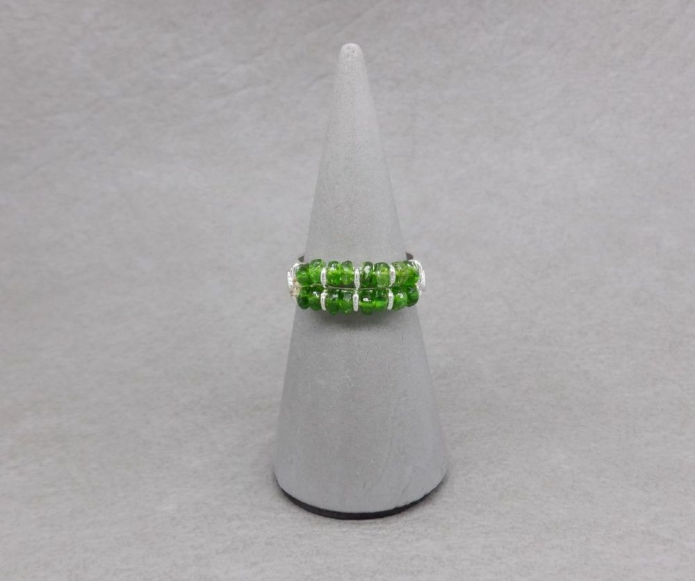 Unusual sterling silver & green diopside ring