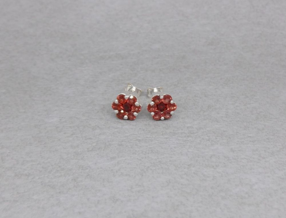 Sterling silver & garnet cluster stud earrings