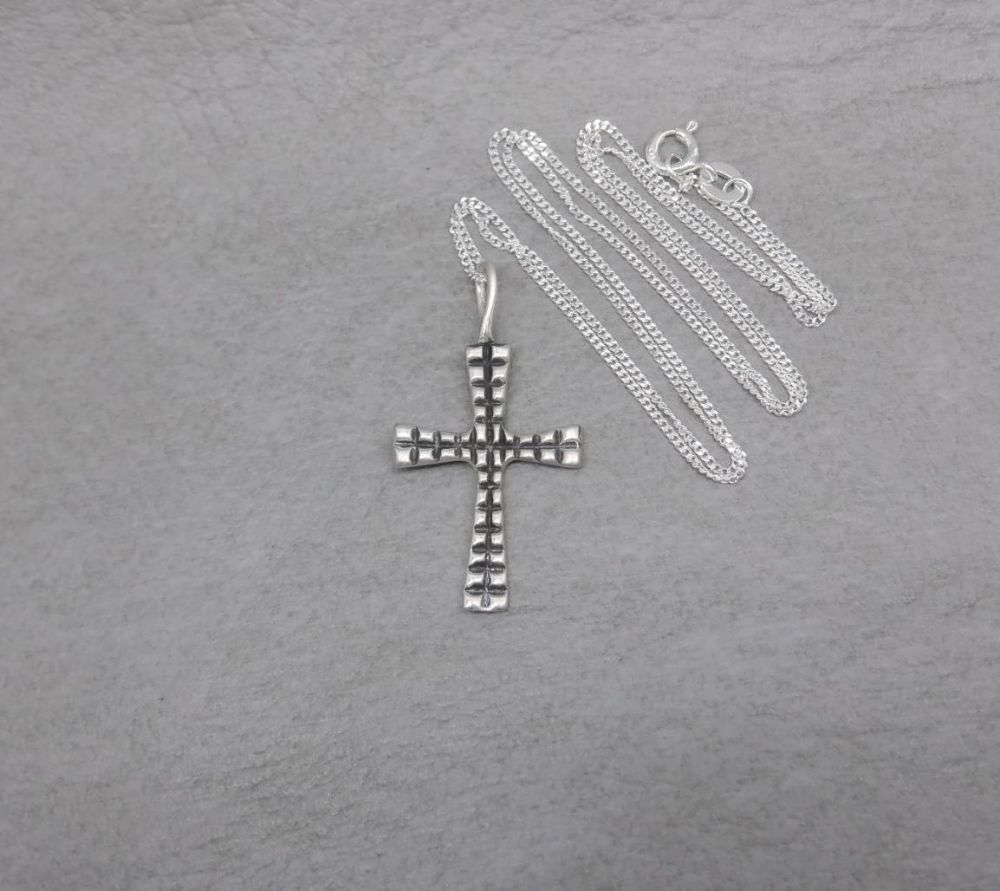 Sterling silver textured & oxidised cross necklace