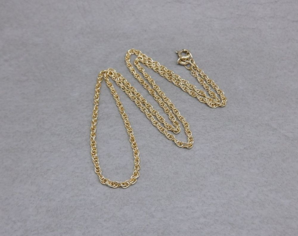 "Gilt sterling silver rope chain (18"", 2mm)"
