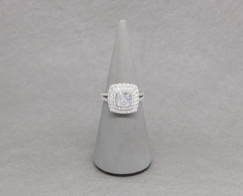 Square sterling silver & clear stone ring with accented shoulders