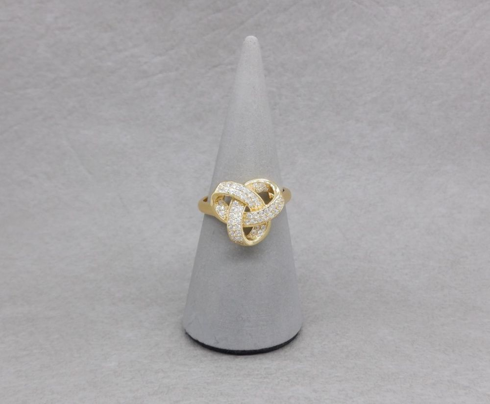 Chunky gilt sterling silver & clear stone knot ring