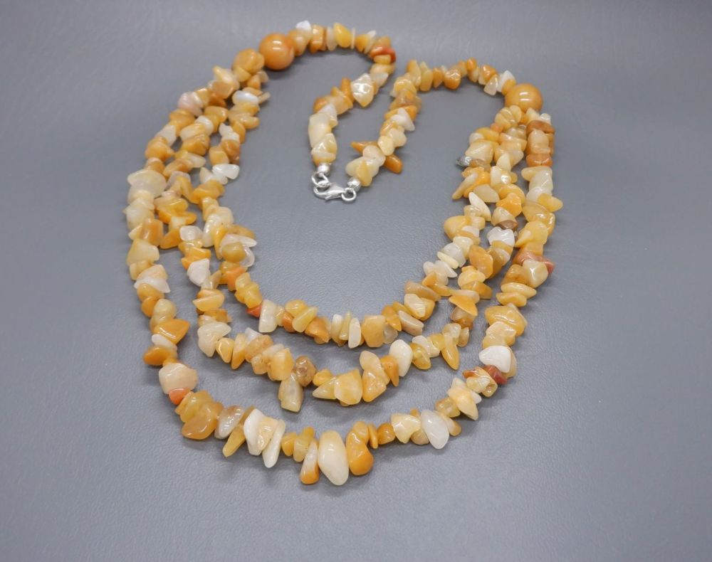 Multi-strand honey quartz necklace with a sterling silver clasp