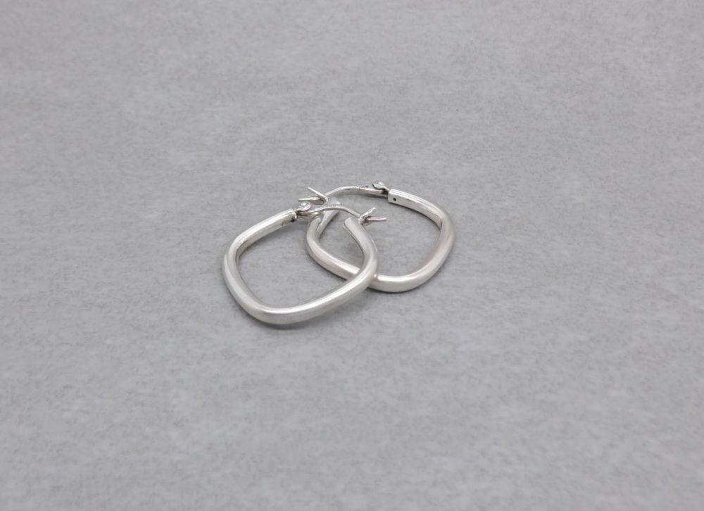 Sterling silver square / diamond hoop earrings