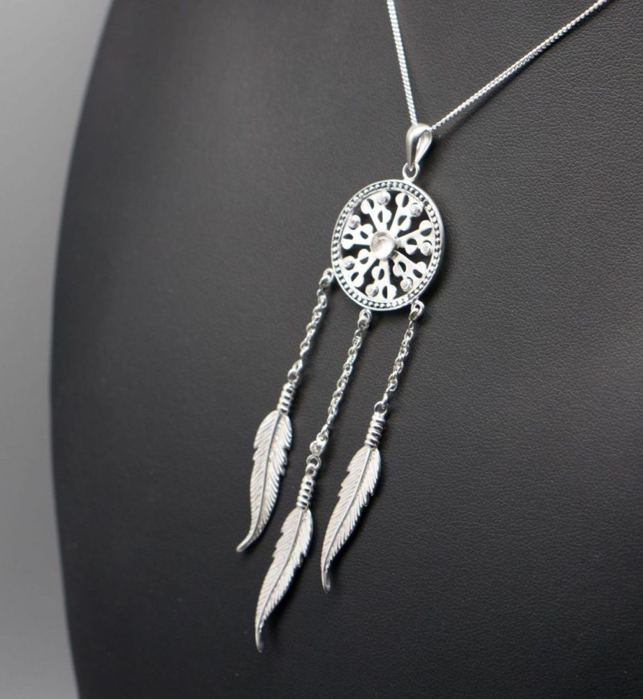 Sterling silver dream catcher necklace with clear stones