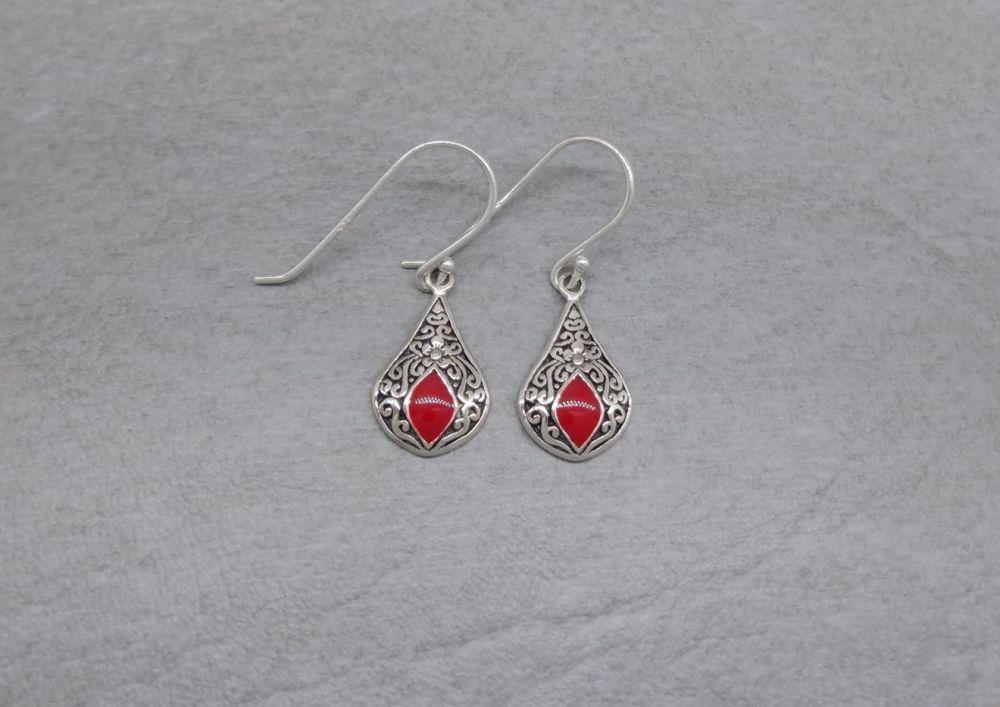 Small Bali sterling silver teardrop earrings