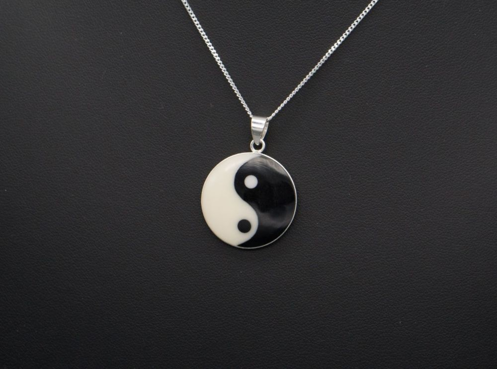 Sterling silver ying yang necklace