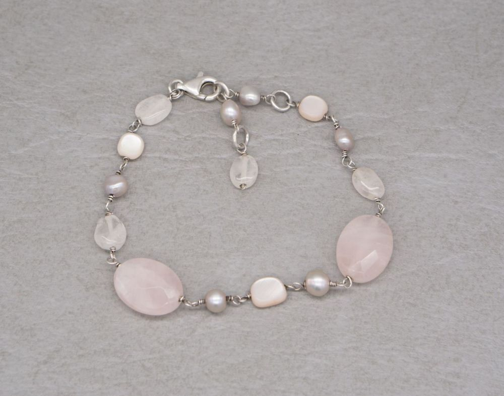 Sterling silver, rose quartz, mother of pearl & freshwater pearl bracelet