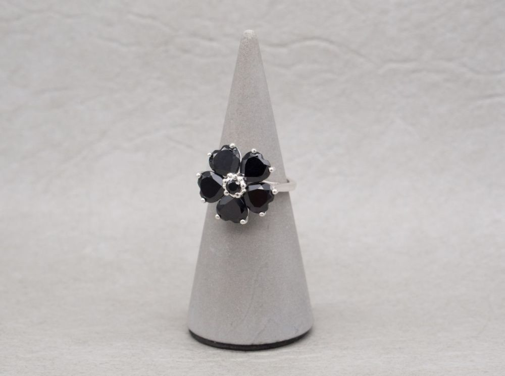 Sterling silver & black stone heart flower / floral ring
