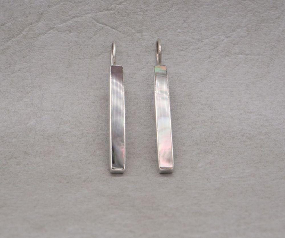 Long, slim sterling silver & mother of pearl earrings